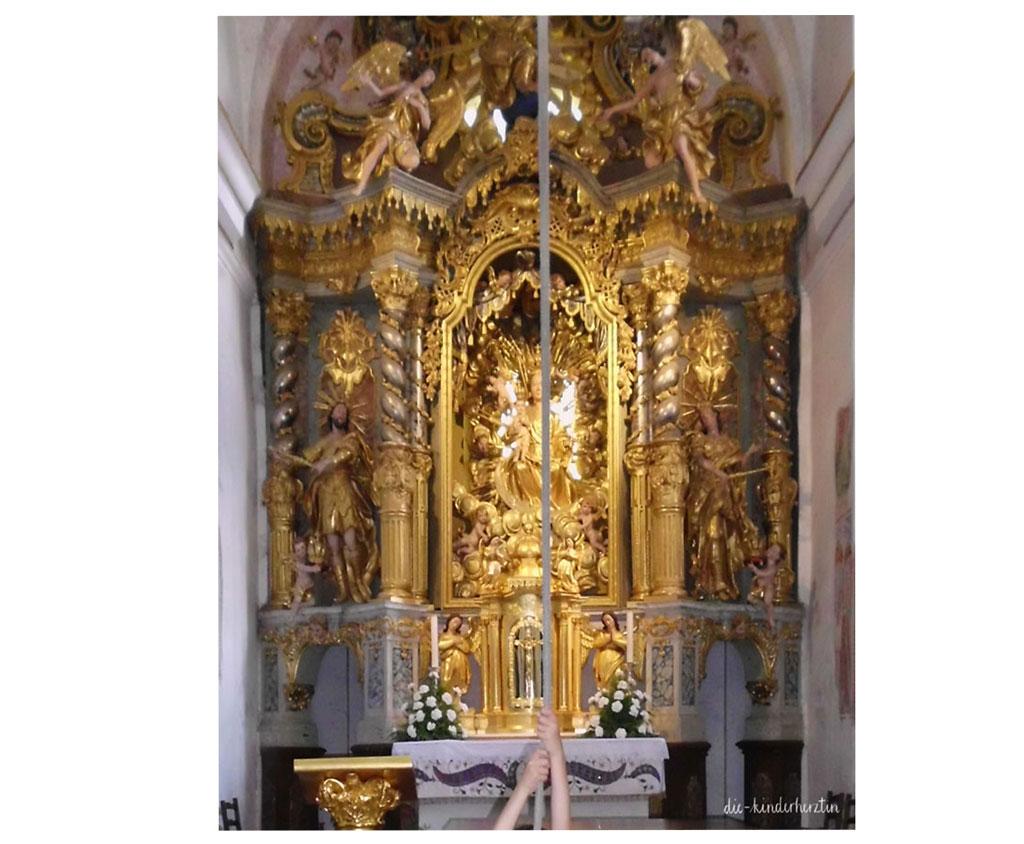 Bled Fernweh Reisen mit Kindern Slowenien Marienkirche Wunschgocke Altar