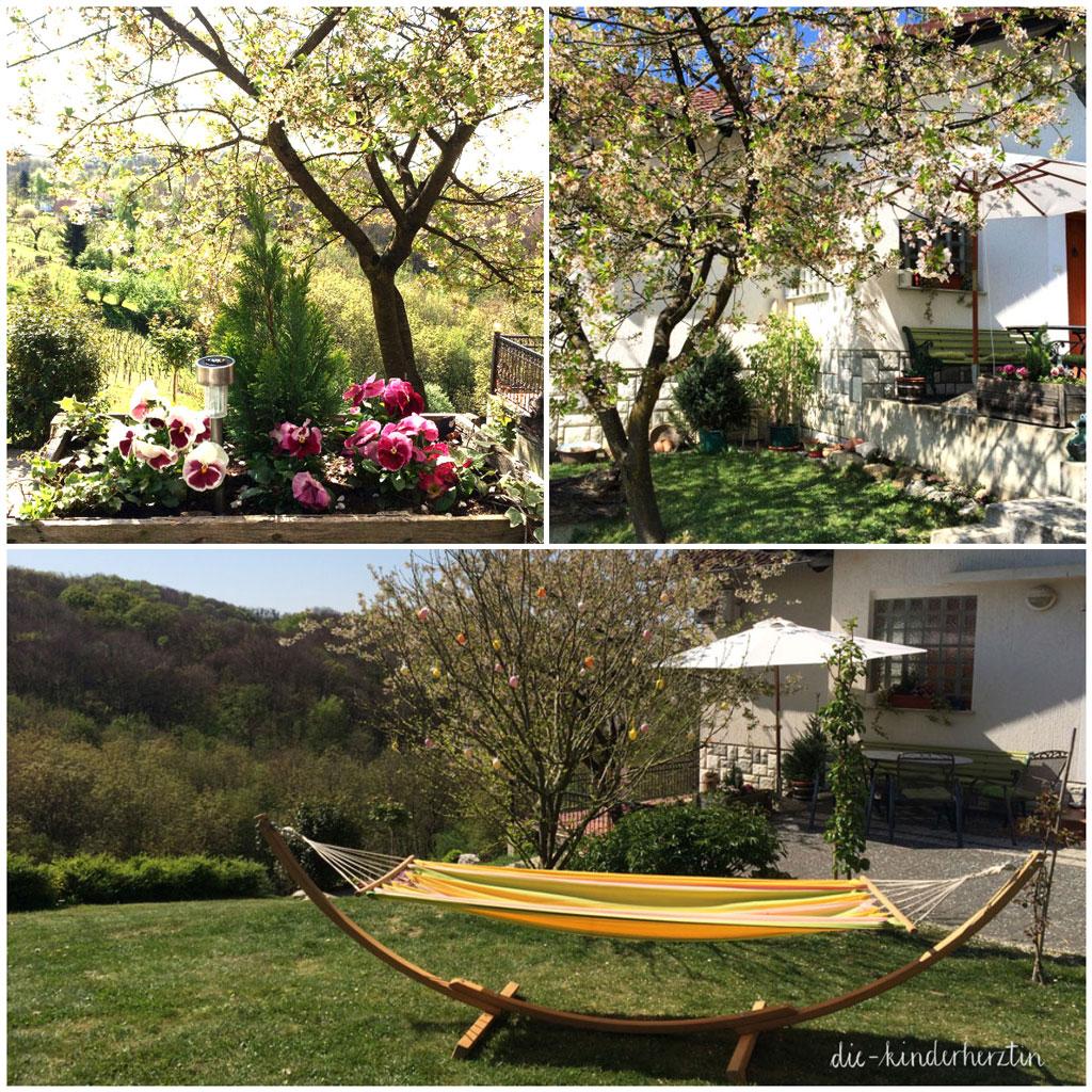Das Haus auf Klaras Hügel Collage Garten im Frühling