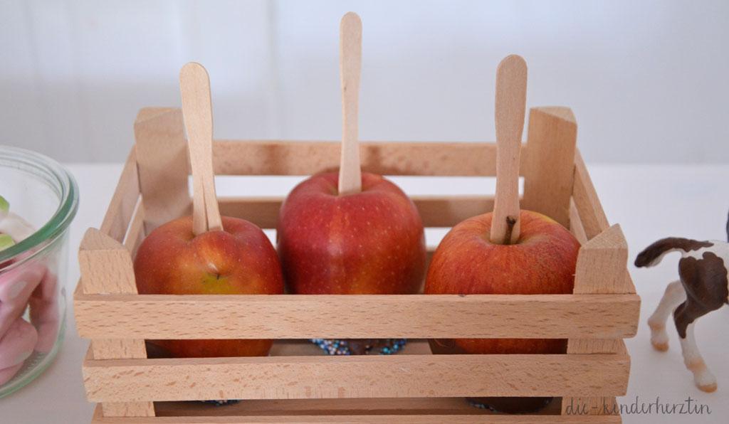Mottoparty Bauernhof Kindergeburtstag Geburtstagstisch mit Schoko-Streusel-Äpfeln