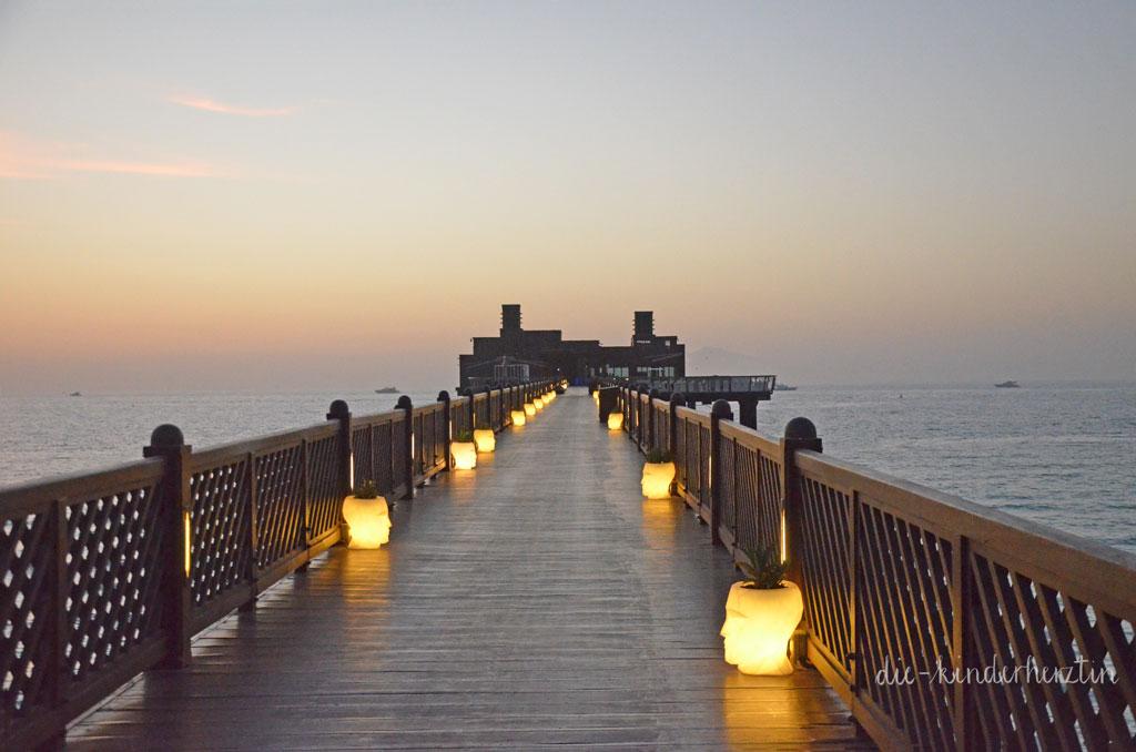 Dubai Dar al Masyaf Unterkunft Außenbereich Restaurant am Strand