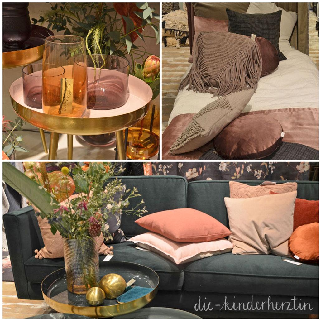 Formland 2018 Trend Samt. Gold, Rosetöne Kissen und Sofa
