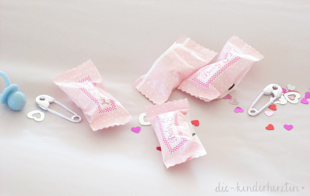 Geburtsbericht der etwas anderen Art die-kinderherztin Bonbons Deko rosa it`s a girl