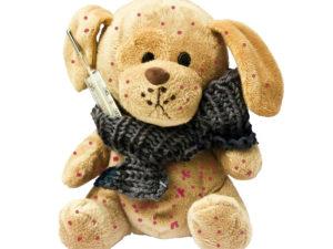 """""""kranker"""" Teddy mit Fieber und roten Flecken"""